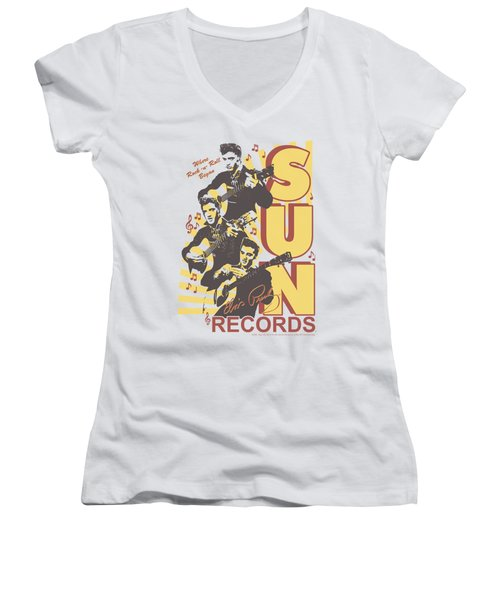 Sun - Tri Elvis Women's V-Neck T-Shirt