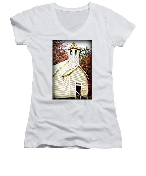 Women's V-Neck T-Shirt (Junior Cut) featuring the photograph Sunday School by Faith Williams