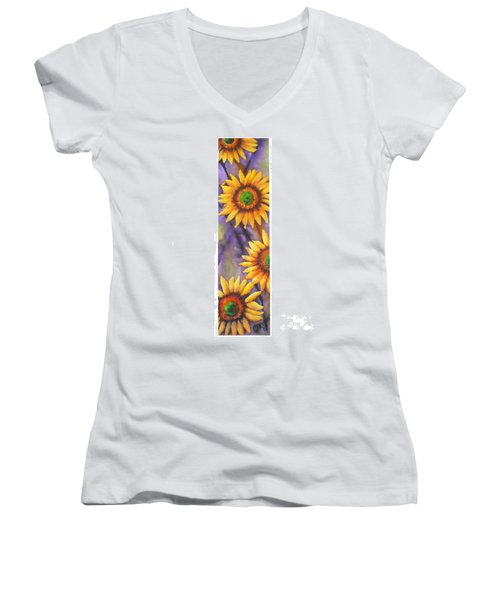 Women's V-Neck T-Shirt (Junior Cut) featuring the painting Sunflower Abstract  by Chrisann Ellis