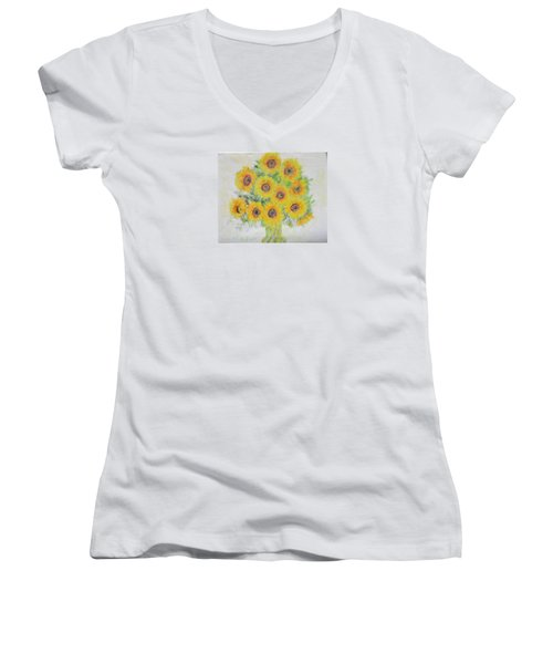 Sunflower Bouquet Women's V-Neck (Athletic Fit)