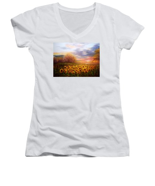 Sunflower Sunset Women's V-Neck T-Shirt