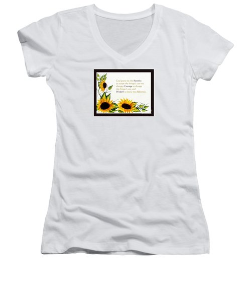 Sunflowers And Serenity Prayer Women's V-Neck T-Shirt (Junior Cut) by Barbara Griffin
