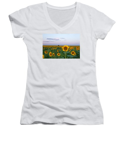 Sunflowers At Sunrise Women's V-Neck (Athletic Fit)