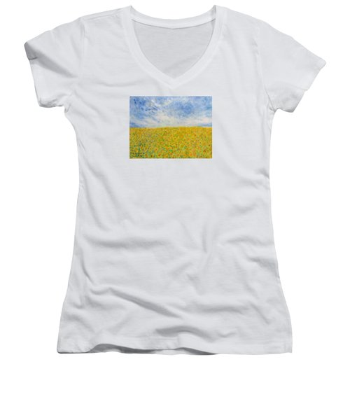 Sunflowers  Field In Texas Women's V-Neck (Athletic Fit)