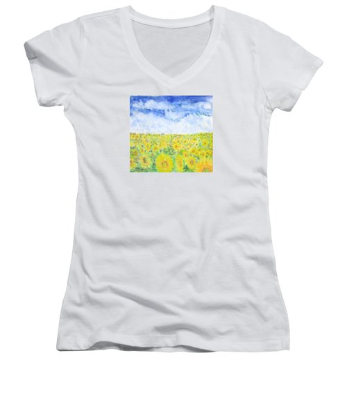 Sunflowers In A Field In  Texas Women's V-Neck (Athletic Fit)