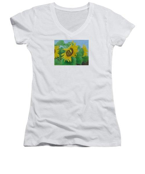Sunflowers In The Wind Colorful Original Sunflower Art Oil Painting Artist K Joann Russell           Women's V-Neck T-Shirt (Junior Cut) by Elizabeth Sawyer