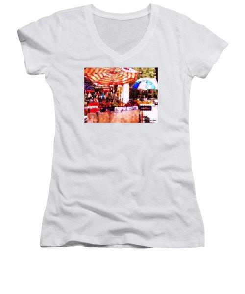 Women's V-Neck T-Shirt (Junior Cut) featuring the photograph Sunkist by Miriam Danar