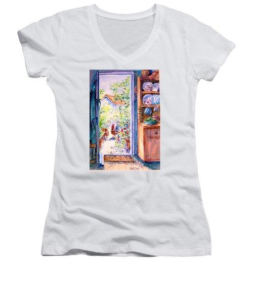 Sunlit Cottage Doorway  Women's V-Neck T-Shirt (Junior Cut) by Trudi Doyle