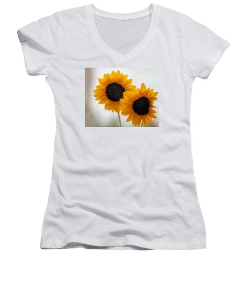 Sunny Flower On A Rainy Day Women's V-Neck T-Shirt (Junior Cut) by Tammy Espino