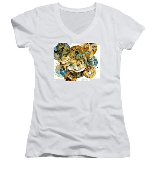 Women's V-Neck T-Shirt (Junior Cut) featuring the painting Sunrise - 991.042212 by Kris Haas