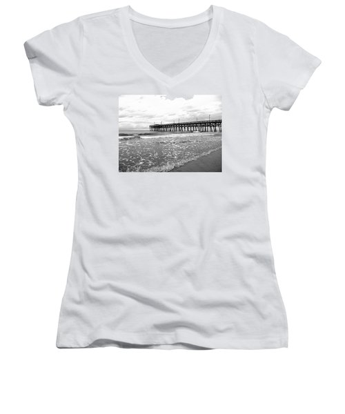 Women's V-Neck T-Shirt (Junior Cut) featuring the photograph Sunrise At Surfside Bw by Barbara McDevitt
