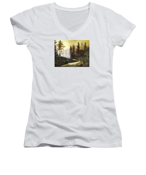 Sunrise In The Forest Women's V-Neck T-Shirt (Junior Cut) by Lee Piper