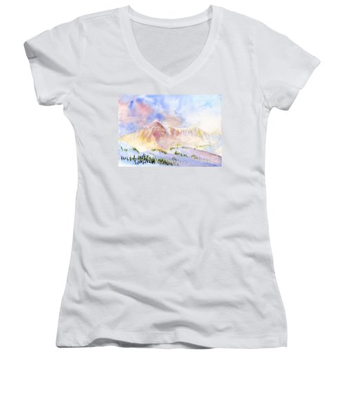 Sunrise On Mount Ogden Women's V-Neck (Athletic Fit)
