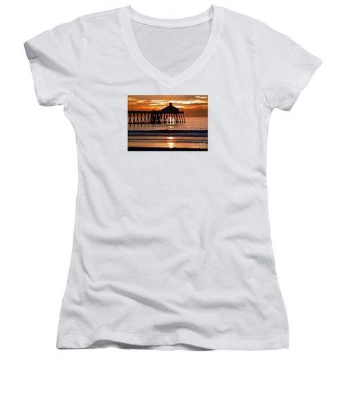 Sunset At Ib Pier Women's V-Neck T-Shirt (Junior Cut) by Barbie Corbett-Newmin