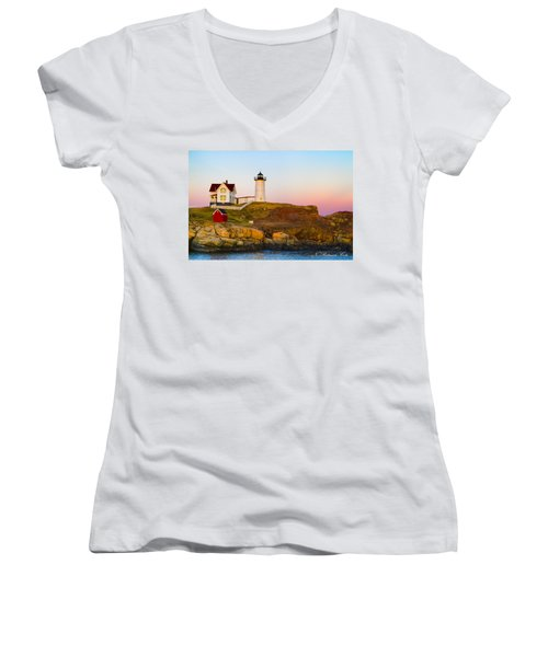 Sunset At Nubble Lighthouse Women's V-Neck (Athletic Fit)