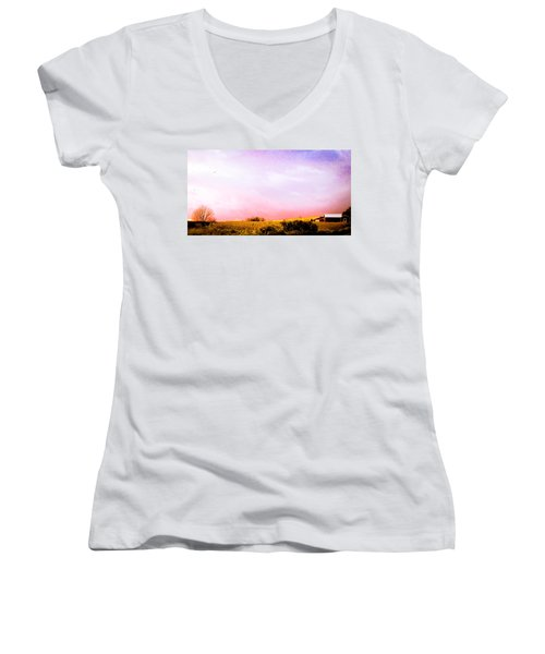 Sunset At The Farm Women's V-Neck T-Shirt (Junior Cut) by Sara Frank