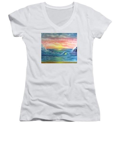 Sunset At The Seashore  Women's V-Neck T-Shirt (Junior Cut) by Becky Lupe