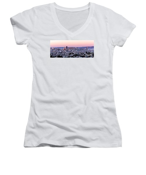 Sunset Cityscape Women's V-Neck (Athletic Fit)