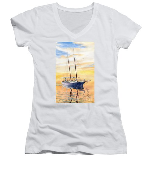 Sunset Cruise Women's V-Neck T-Shirt (Junior Cut) by Melly Terpening