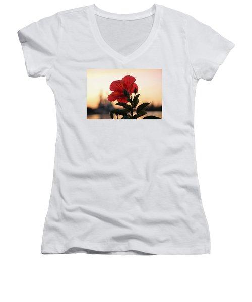 Women's V-Neck T-Shirt (Junior Cut) featuring the photograph Sunset Flower by Cynthia Guinn