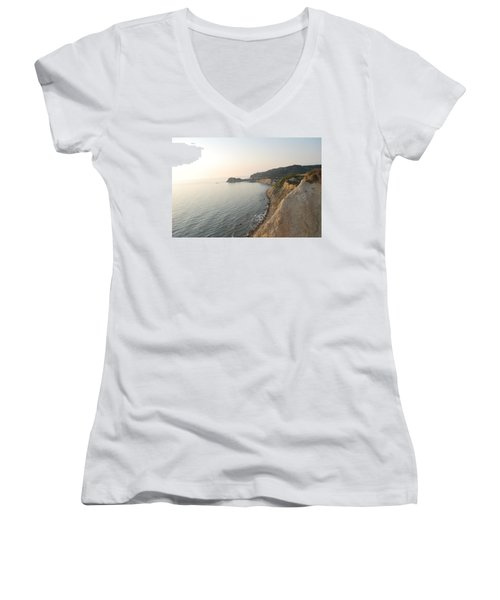 Women's V-Neck T-Shirt (Junior Cut) featuring the photograph Sunset Gourna by George Katechis