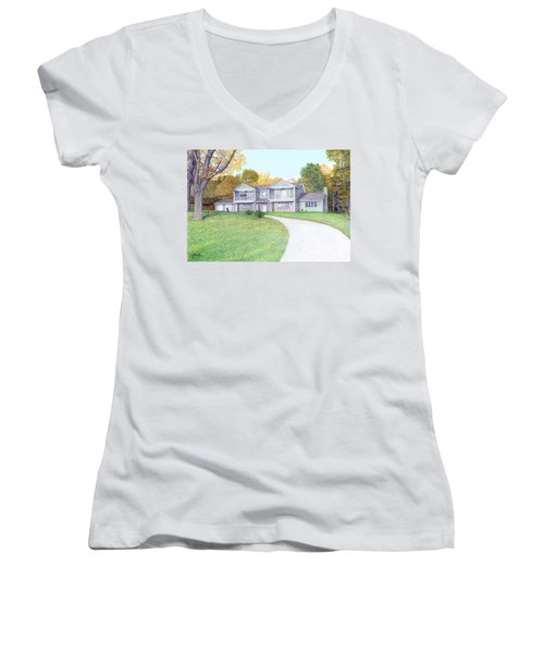 Sunset House In Fall Women's V-Neck T-Shirt