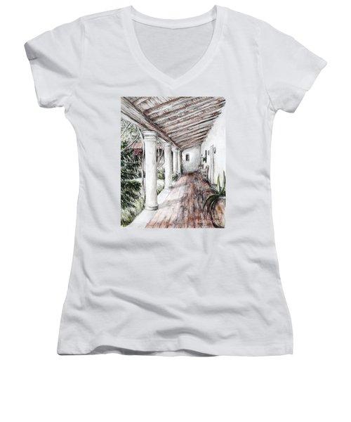 Sunshine On Portico Women's V-Neck T-Shirt (Junior Cut) by Danuta Bennett
