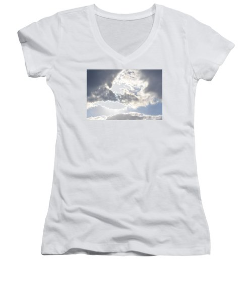 Women's V-Neck T-Shirt (Junior Cut) featuring the photograph Sunshine Through The Clouds by Tara Potts