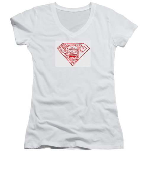 Women's V-Neck T-Shirt (Junior Cut) featuring the drawing Superman And Doomsday Red by Justin Moore