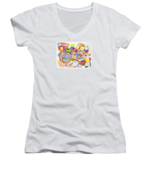 Women's V-Neck T-Shirt (Junior Cut) featuring the painting Abstract Dance Party  by Stormm Bradshaw