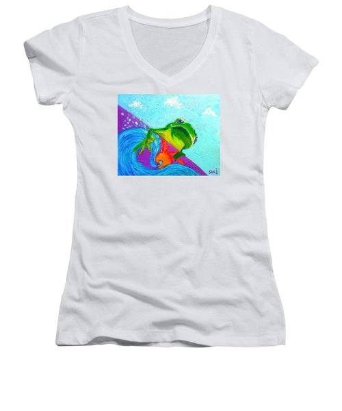 Surfing Froggie Women's V-Neck (Athletic Fit)