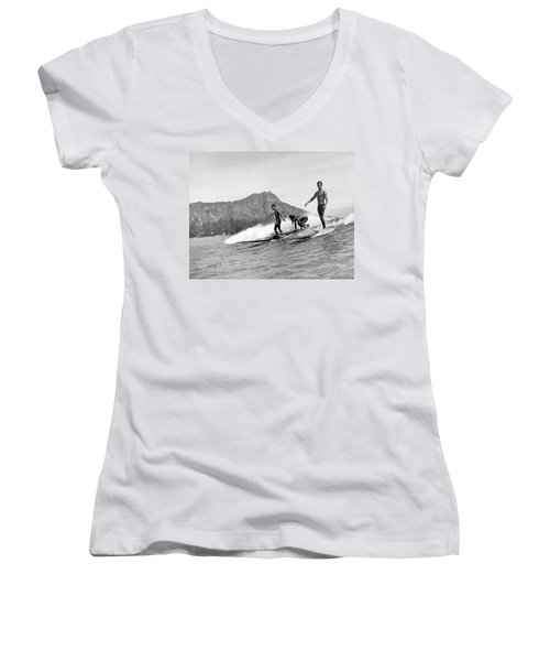 Surfing In Honolulu Women's V-Neck (Athletic Fit)
