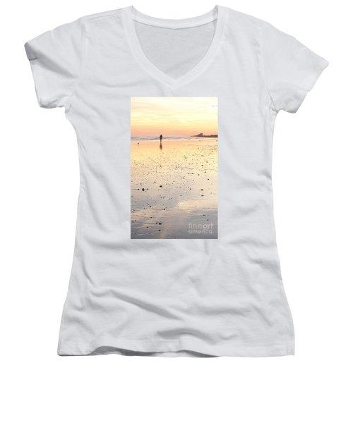 Surfing Sunset Women's V-Neck T-Shirt (Junior Cut) by Eric  Schiabor