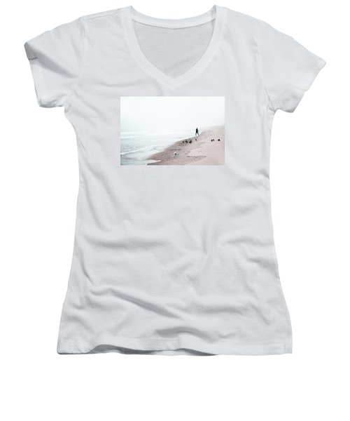 Women's V-Neck T-Shirt (Junior Cut) featuring the photograph Surfing Where The Ocean Meets The Sky by Brooke T Ryan