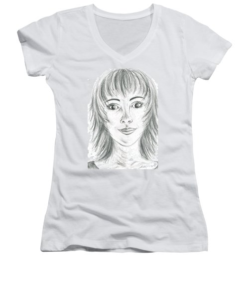 Women's V-Neck T-Shirt (Junior Cut) featuring the drawing Portrait Stunning by Teresa White
