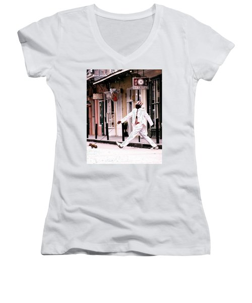 New Orleans Suspended Animation Of A Mime Women's V-Neck T-Shirt