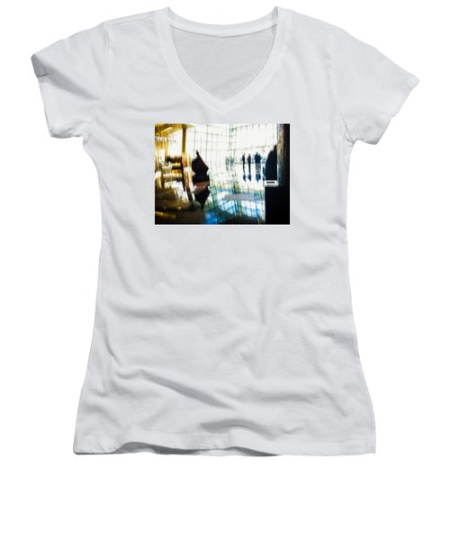 Women's V-Neck T-Shirt (Junior Cut) featuring the photograph Suspended In Light by Alex Lapidus