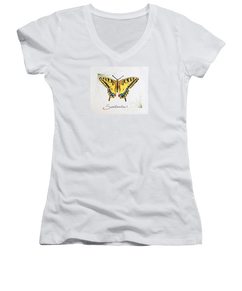 Swallowtail - Butterfly Women's V-Neck T-Shirt (Junior Cut) by Katharina Filus