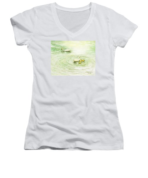 Swans In St. Pierre Women's V-Neck (Athletic Fit)