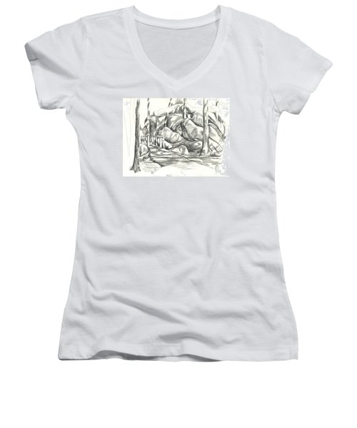 Swirling Cast Shadows At Elephant Rocks  No Ctc101 Women's V-Neck