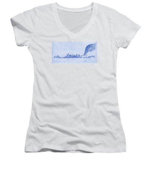 Sydney Skyline Blueprint Women's V-Neck T-Shirt (Junior Cut) by Kaleidoscopik Photography