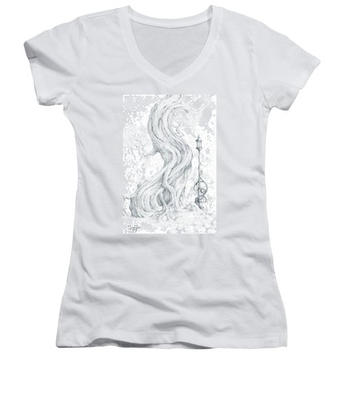 Women's V-Neck T-Shirt (Junior Cut) featuring the drawing Sylvia And Her Lamp Drawing by Curtiss Shaffer