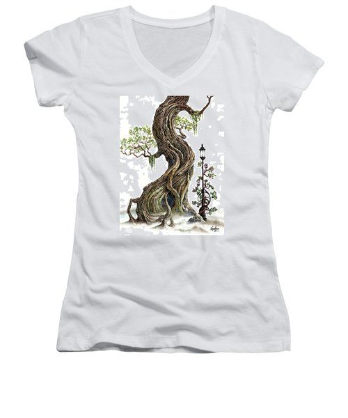 Sylvia And Her Lamp On White Women's V-Neck T-Shirt