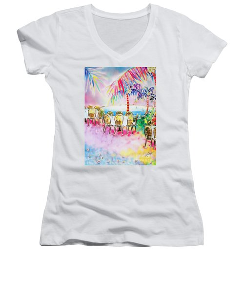 Tables On The Beach Women's V-Neck