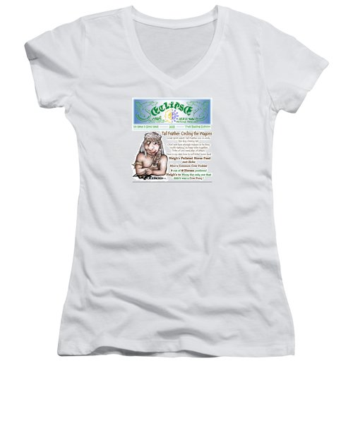 Real Fake News Circling The Wagons Column 1 Women's V-Neck T-Shirt (Junior Cut) by Dawn Sperry