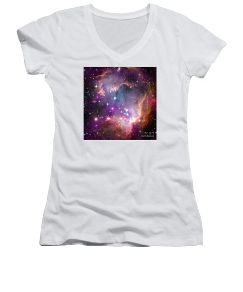 Women's V-Neck T-Shirt (Junior Cut) featuring the  Taken Under The Wing Of The Small Magellanic Cloud by Paul Fearn