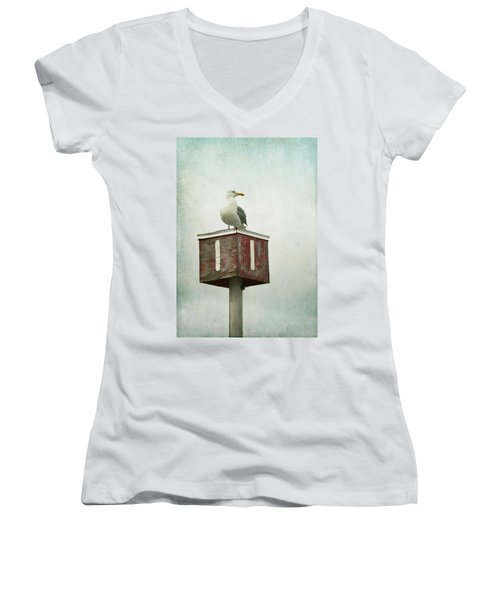 Women's V-Neck T-Shirt (Junior Cut) featuring the photograph Gull With Blue And Red by Brooke T Ryan