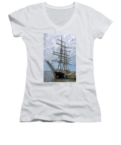 Women's V-Neck T-Shirt (Junior Cut) featuring the photograph Tall Ship Gunilla Vertical by Dale Powell