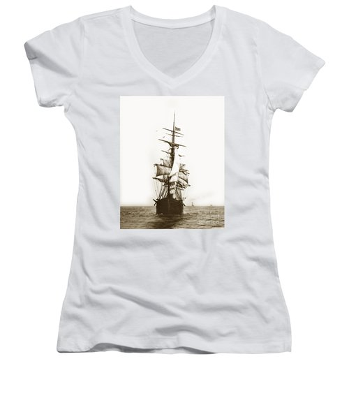 Women's V-Neck T-Shirt (Junior Cut) featuring the photograph Tall Ship Sailing Out Of San Francisco California Circa 1900 by California Views Mr Pat Hathaway Archives