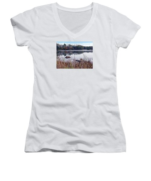 Tallgrass At Lake Katherine Women's V-Neck T-Shirt (Junior Cut) by Cedric Hampton